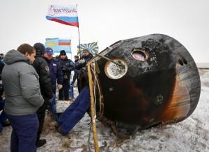Mit dieser Raumkapsel landeten die drei Astronauten in Kasachstan. (Bild: AFP)
