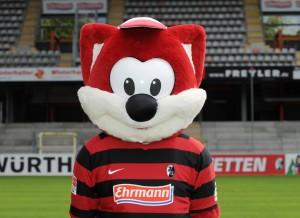 Maskottchen Füchsle vom Fußball-Bundesligisten SC Freiburg (Bild: dpa)