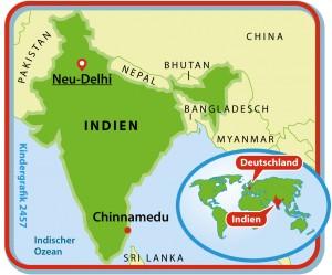 Auf dieser Karte von Indien könnt ihr sehen, woe Chinnamedu liegt. (Grafik: dpa)