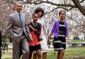 Barack Obama, Tochter Sasha, Ehefrau Michelle Obama und Tochter Malia