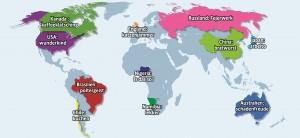 In welchen Ländern werden welche Wörter genutzt? Klicke auf die Karte! (Grafik: ksta)